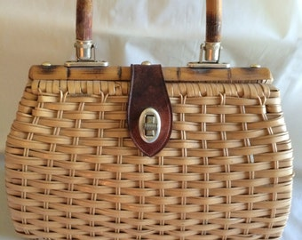 1960s wicker purse, handbag with rattan handle