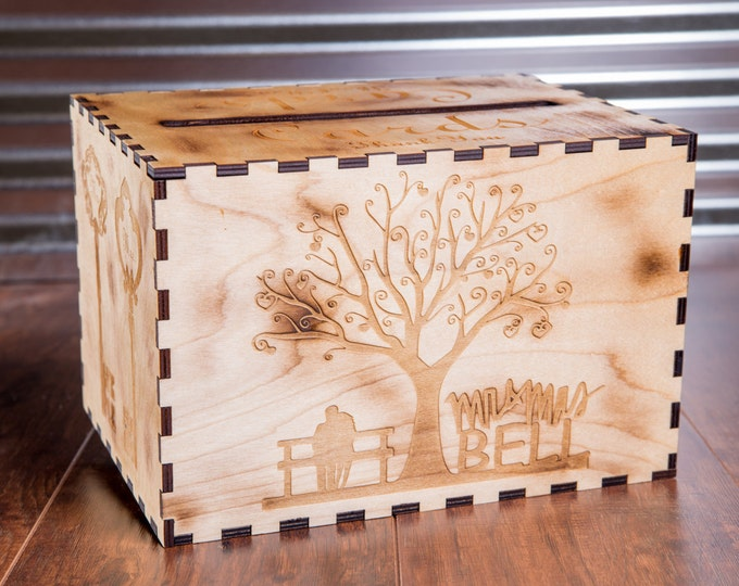 Card Box, Engraved Names & Date, Wooden Gift Box, Rustic Wood Chest, Wedding Decor Box, Large Personalized Cardbox