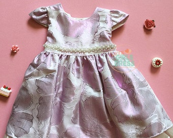 NEW Lovely Baby Sleeve Shiny Lavender Floral Dress, Birthday dress, flower girls dress, princess dress