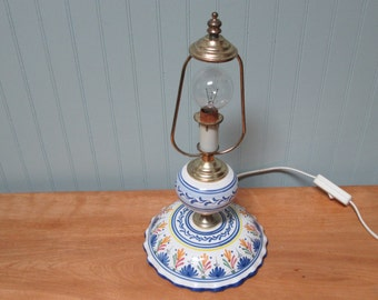 Blue and White Ceramic Accent Lamp - Vintage