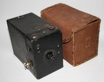 Vintage Box Camera Kodak Original Canvas Etui Black Silver Color Photography