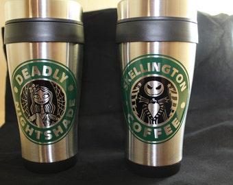 Travel Coffee Cup - Deadly Nightshade or Skellington