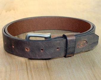 "Water Buffalo Leather Belt - 1.25"" Wide, Dark Brown with Matte Nickel Hardware"