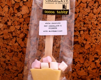 4 Belgian chocolate hot chocolate stirrers with mini marshmallows various flavours available