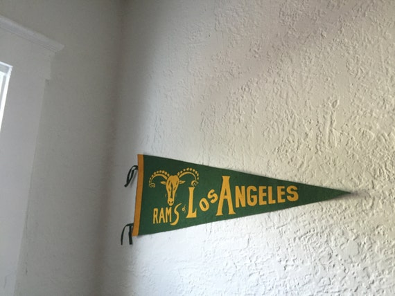 Holiday Sale! Vintage Rare Los Angeles Rams Felt Pennant LA California Ram St. Louis Saint Green Yellow NFL Football Sports