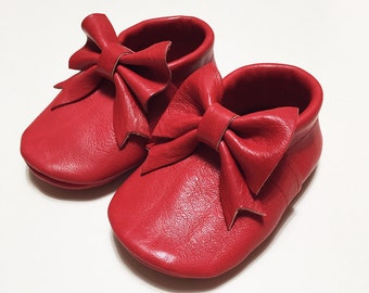 Genuine leather LOAFERS with a Ribbon for baby girl