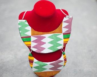 collana a colletto in Stoffa Africana/ necklace Double Collar