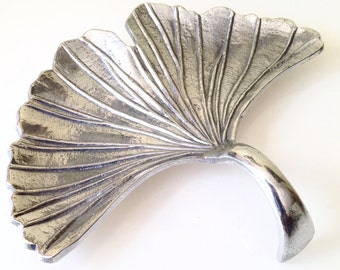 Large Metal Ginkgo Leaf Serving Tray with Handle
