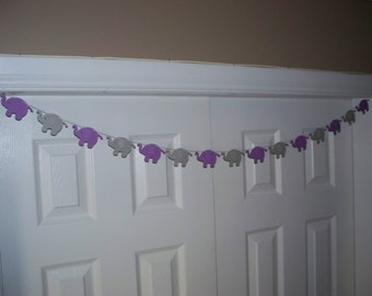 Light Purple and Grey Elephant Garland - Cardstock Paper - Baby Shower Decoration - Wall decoration- 4 5 8 10 foot