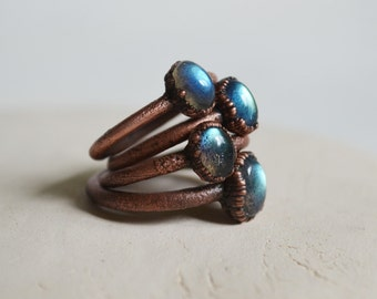 size US 6 LABRADORITE COPPER ring,raw jewelry,copper ring,natural ring,dainty ring,stackingring,wedding ring,tiny ring,copper electroformed