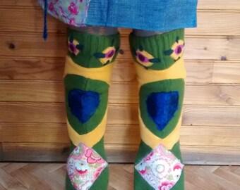 handmade patchwork legwarmers