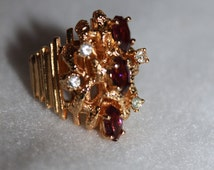 A1 18 KT HGE Simulated Amythyst and Diamond (Faux) Ring Size 9 Point to Point of Purple Stones 1 Inch In Length