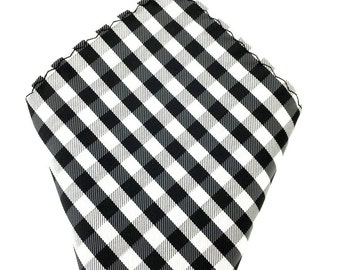 Mens Pocket Square.Black White Checkered Handkerchief.Formal Suit .Pocket squares. Hanky. Tuxedo Tie Necktie Pocket Square.