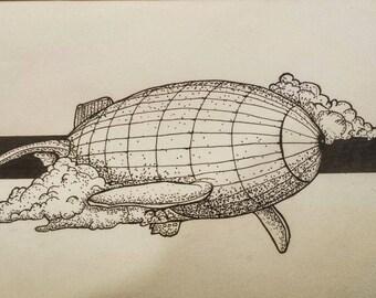 Whale Zeppelin drawing