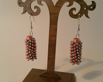 Rose gold and silver drop earrings