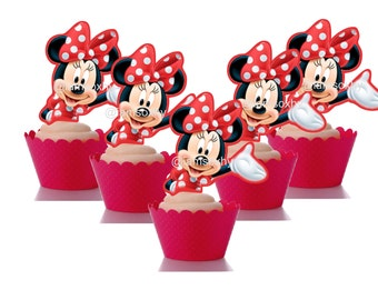 Red Minnie Mouse cupcake toppers