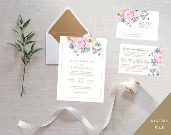 Floral Watercolour Pink Peony 3 Piece Wedding Invitation Suite / Set - RSVP - Printable / Digital File - White + Gold Design