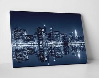New York Manhattan Night Skyline Gallery Wrapped Canvas Print