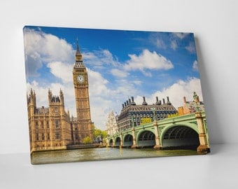 London UK Big Ben Tower Skyline Gallery Wrapped Canvas Print