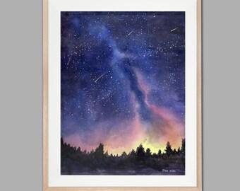 Landscape Painting Original, Starry night, Original Watercolor Painting, Watercolor Landscape