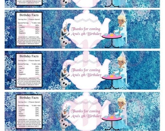 50%off Water bottle Label Elsa and Olaf-Tea Party-Birthday-Party supplies-Tea Party Frozen-Water labels