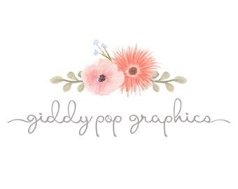 Watercolor Logo, Photography Logo, Floral logo feminine Logo, premade logo, custom logo, Pink, Boutique logo