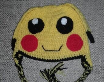 Toddler pikachu hat, Crochet pokemon hat,baby pikachu hat, newborn pokemon hat, pikachu hat, ready to ship