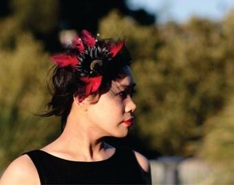 Fascinator - Black/White or Black/Red Feathers Headband, Raceday