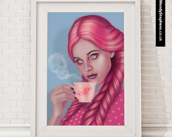 My Blood Type is Coffee // Illustrated Giclee Art Print // Wendy Stephens