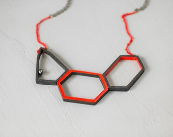Geometric necklace / Black pearl necklace / Natural wood necklace / Red statement necklace / Modern necklace / Gift for women