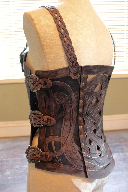 Leather Armor Corset Viking Design Celtic Dragon Cut Out
