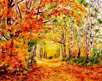 Original oil painting.Gold autumn. Autumn landscape. Modern Art. Palette Knife oil Painting