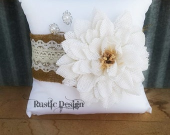 White Burlap Rustic Ring Bearer Pillow