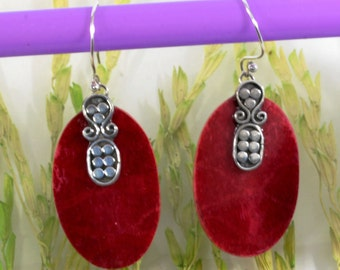 Sponge coral  and Silver Earrings  -- 4810