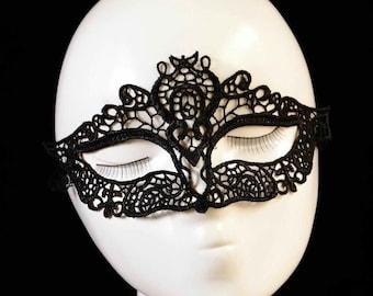 Fun Black Lace Masquerade Mask, Mardi Gras Mask, Party Mask, Costume Mask, Gift #599