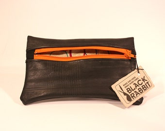 Pouch with zip Orange-Made with recycled bicycle inner tubes-Eco-friendly and vegan