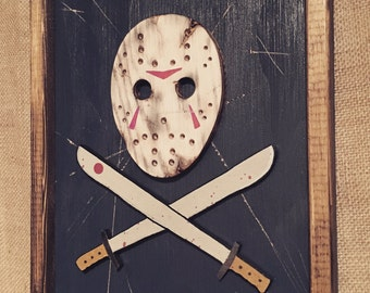 Jason Voorhees Friday the 13th skull and crossbones style wooden wall art