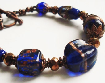 Murano Glass Royal Blue Bracelet, Boho Chic Jewelry, Vintage Style Copper Bracelet, Royal Blue Jewelry, Blue Bohemian Bracelet Gift For Her