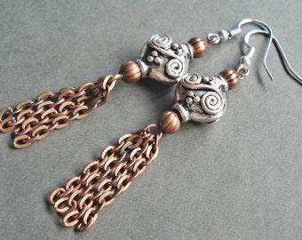 Sterling Silver Copper Tassel Earrings, Bohemian Tassel Jewelry, Long Chain Earrings, Copper Tribal Jewelry, Mixed Metals Boho Earrings Gift