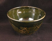 Dark Green/Blue Handmade Pottery Bowl