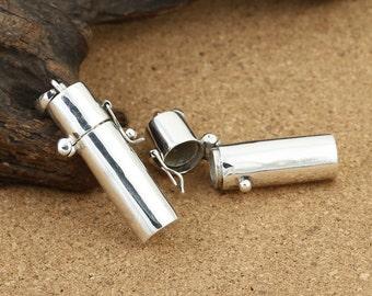 Sterling Silver Prayer Box Charm, Sterling Silver Locket, Cylinder Prayer Box, 925 Sterling Silver Prayer Box, Sterling Memory Box -LA109