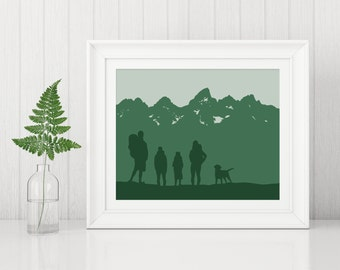 Hiking Art Print, Hiking Poster, Mountain Anniversary Art Print, Camping Art Print, Custom Family Art Print, Personalized Family Art Print