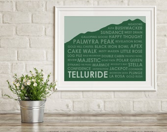 Telluride CO Ski Trails Print ~ Telluride Art Print ~ Telluride CO Print ~ Gift for Skier ~ Telluride Colorado ~ Skier Gift ~ Ski Art Print