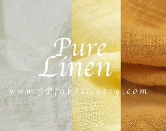 Pure linen fabric. Solid white linen. Yellow linen fabric. eco-friendly fabric. 135x100cm