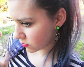 "Lovestruck Robot bronze stretched dangle Neon Green earrings EAR PLUG you pick the gauge size 6g, 4g, 2g, 0g, 7/16"" aka 4mm, 5mm, 6mm, 8mm"