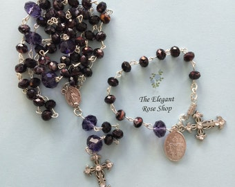 Gift Set!  Beautiful Rosary and matching Rosary Bracelet in deep purple