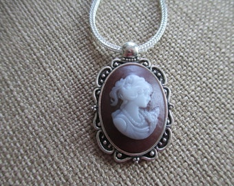Cameo Pendant Necklace ~ Long Silver Chain