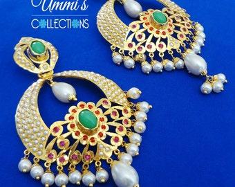 Golden Polish Multi Color Jadau Earrings Jewelry
