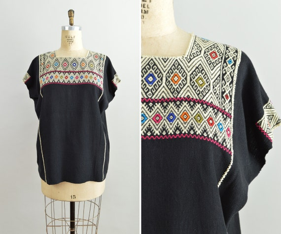 Mexican Embroidered Top Vintage Black Tunic Womens M L XL