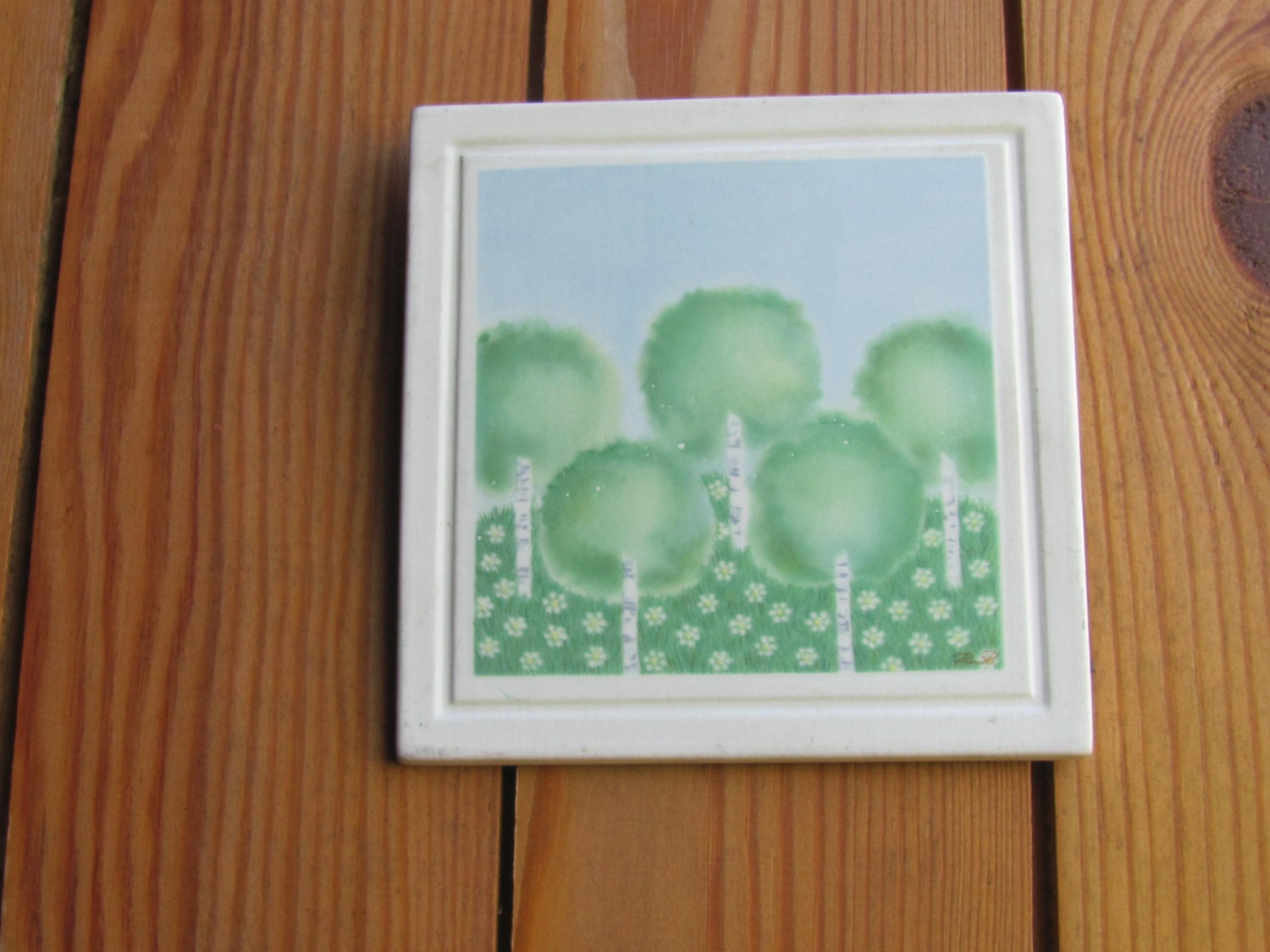 Swedish Vintage Porcelain Wall Plaque Tile With Birch Trees Gustavsberg  Villa Rosa Design By Pia R